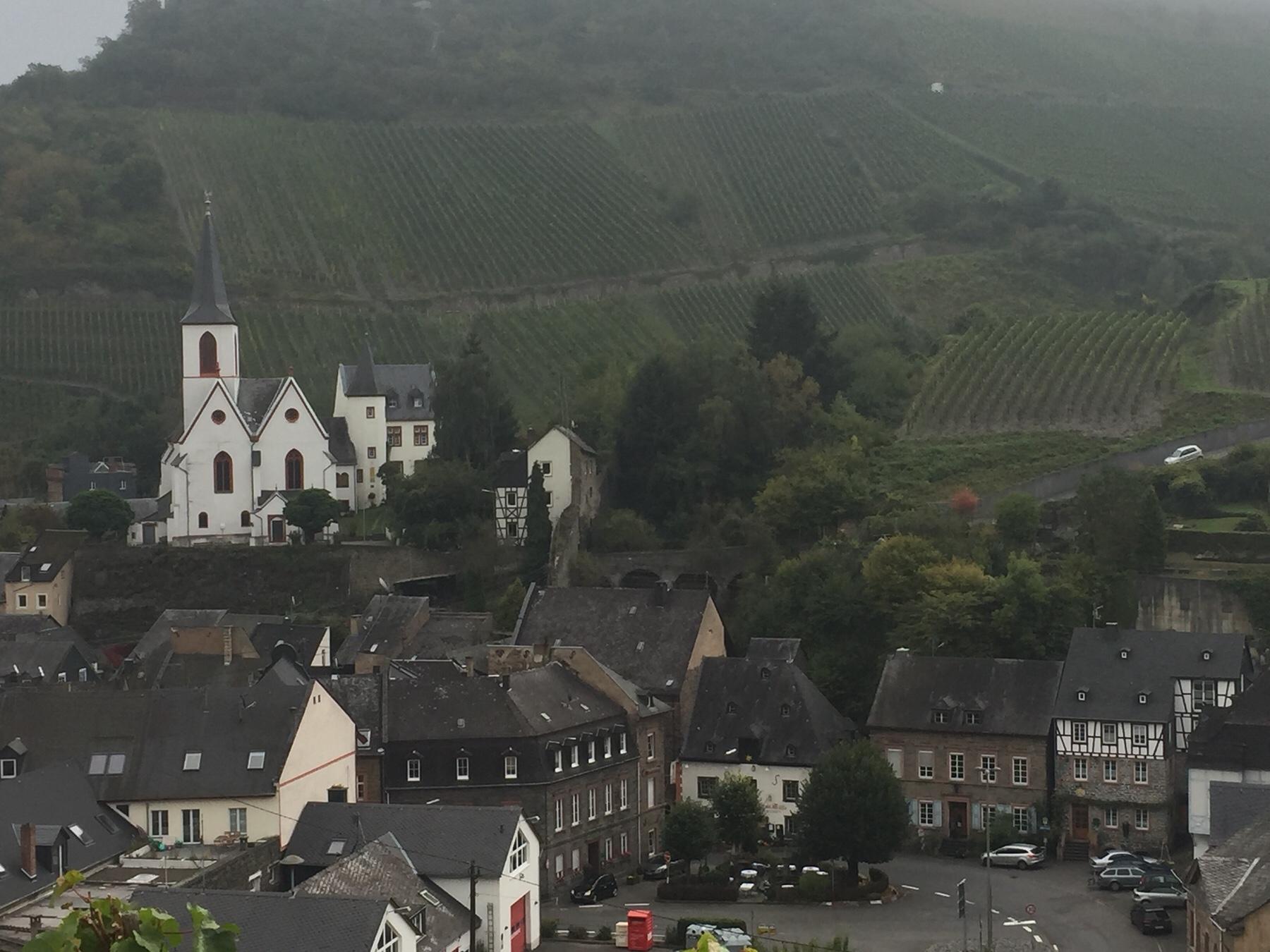 Mosel-Camino: Rückblick auf Kirche und Lateinschule von Traben-Trarbach auf dem Weg nach Klausen