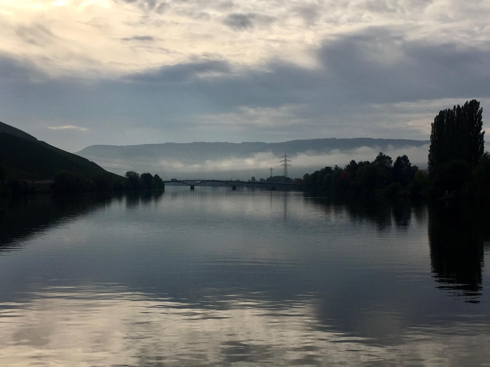 Blick auf die Mosel vom Boot bei Schweich auf dem Weg nach Bernkastel
