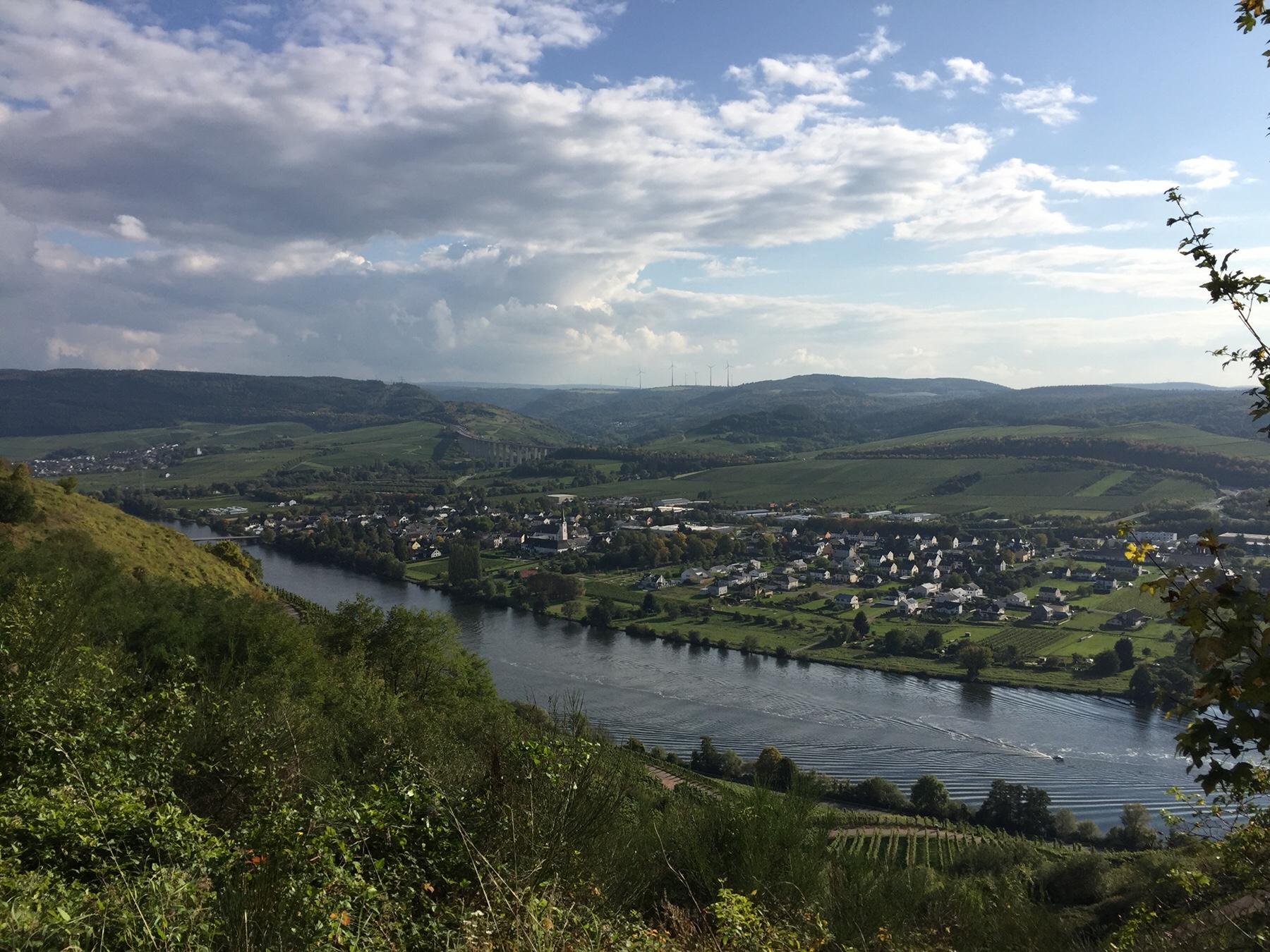 Blick auf Schweich an der Mosel, Moseljakobsweg, Etappe 6
