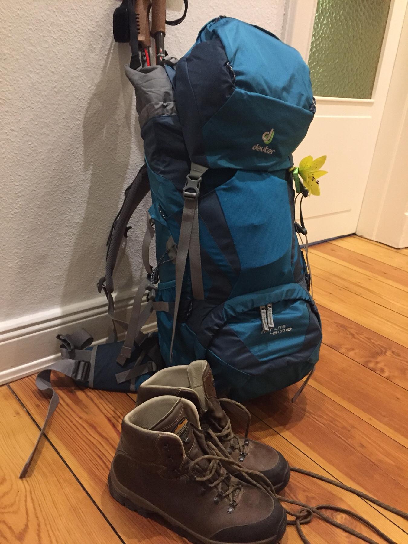 Vorbereitung Jakobsweg, mein gepackter Rucksack