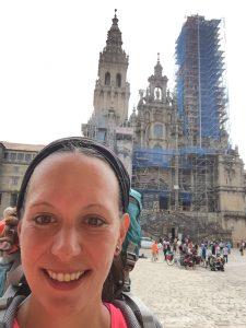 Ankunft vor der Kathedrale von Santiago de Compostela