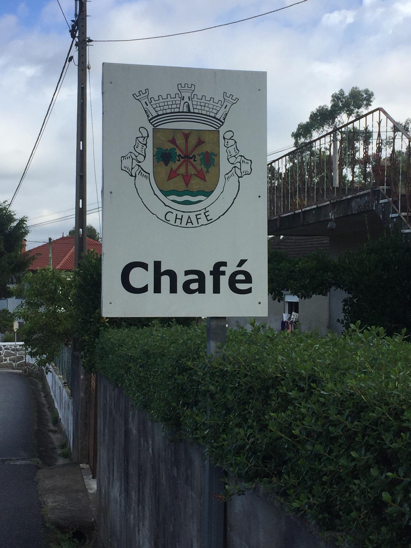 Ortseingang Chafé, Caminho Portugues