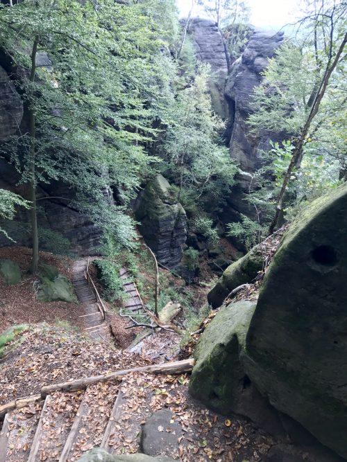 Abstieg in den Tiefen Grund, Malerweg Etappe 3 Hohnstein Altendorf