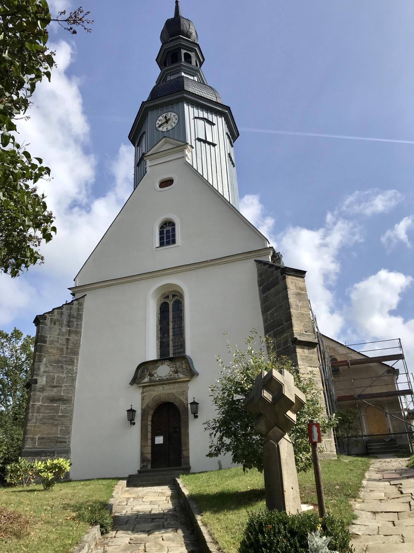 Bauernbarock-Kirche in Reinhardtsdorf, Malerweg Etappe 6, von Schmilka nach Gohrisch