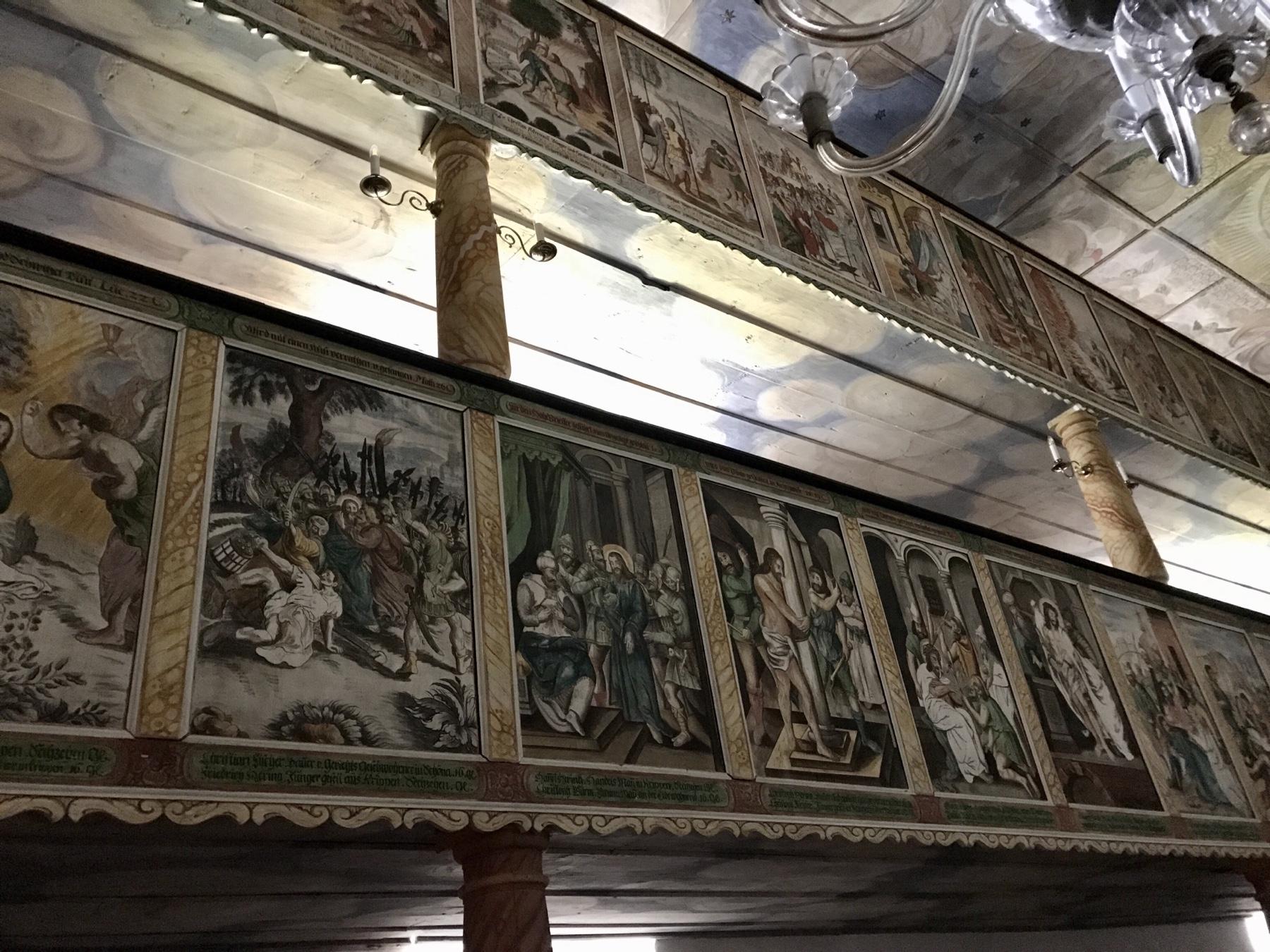 Malerei in der Kirche von Reinhardtsdorf, Malerweg Etappe 6, von Schmilka nach Gohrisch