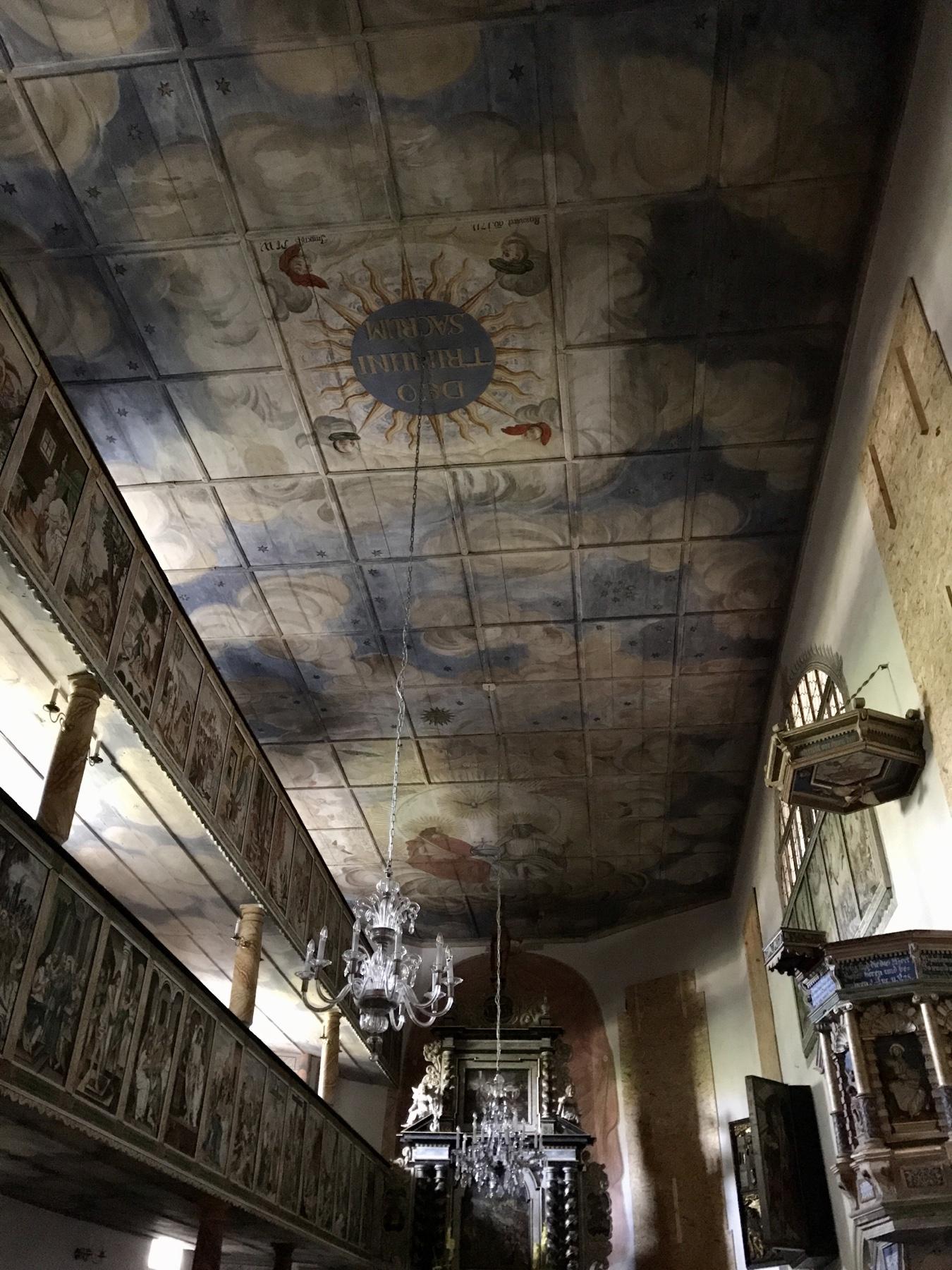 Deckenmalerei in der Kirche von Reinhardtsdorf, Malerweg Etappe 6, von Schmilka nach Gohrisch