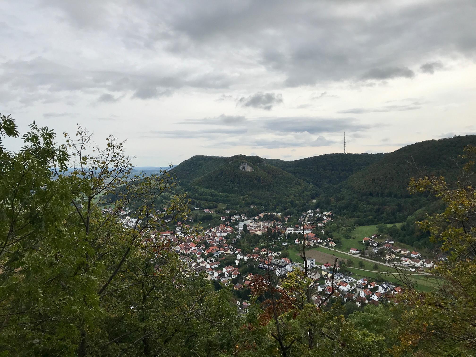 Albsteig HW1 von Heubach nach Weißenstein, Rückblick Ruine Rosenstein